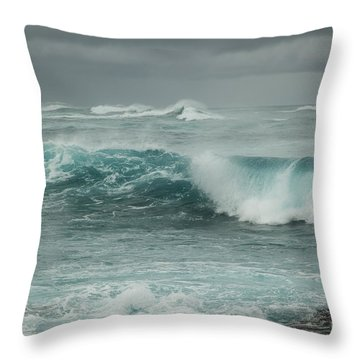 Winter North Shore Wave Throw Pillow