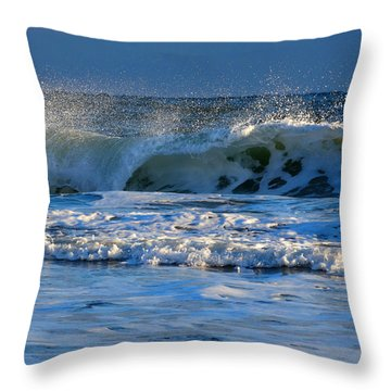 Winter Ocean At Nauset Light Beach Throw Pillow