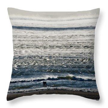 Winter Ocean Rockaway Beach Throw Pillow