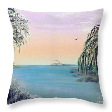 Winter On Lake Ponchartrain Throw Pillow by Alys Caviness-Gober