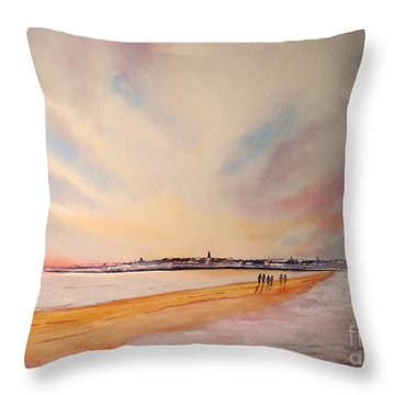 Winter On St Andrews Scotland Throw Pillow