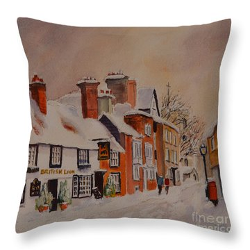 Winter On The Bayle Folkestone Throw Pillow