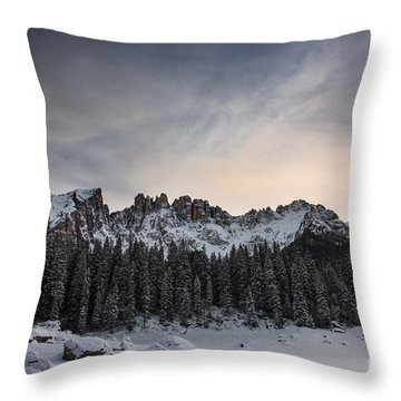Winter On The Carezza Lake Throw Pillow by Yuri Santin