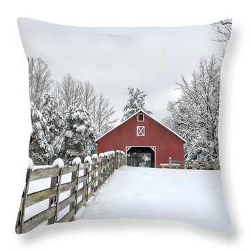 Winter On The Farm Throw Pillow by Benanne Stiens