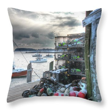 Winter On The Lobster Wharf Throw Pillow