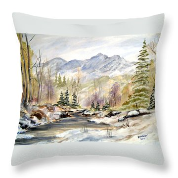 Throw Pillow featuring the painting Winter On The River by Dorothy Maier
