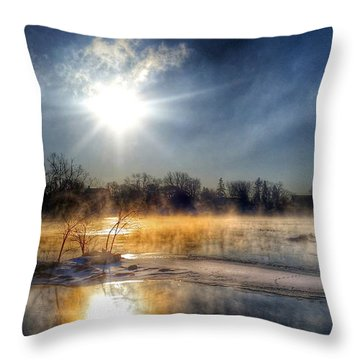 Winter On The Wisconsin River Throw Pillow