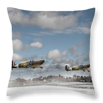 Winter Ops Spitfires Throw Pillow by Gary Eason