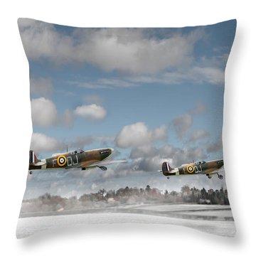 Winter Ops Spitfires Throw Pillow