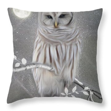 Throw Pillow featuring the digital art Winter Owl by Nina Bradica