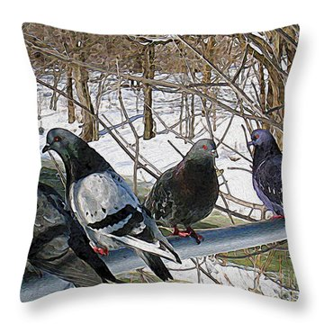Winter Pigeon Party Throw Pillow