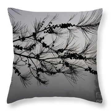 Winter Pine Branch Throw Pillow by Bev Conover