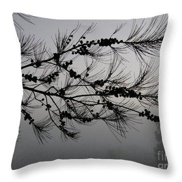 Winter Pine Branch Throw Pillow
