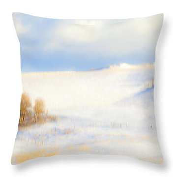 Winter Poplars Throw Pillow by Theresa Tahara