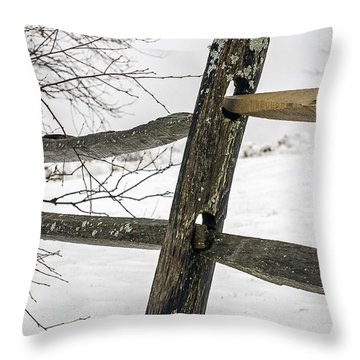 Winter Rail Fence Throw Pillow