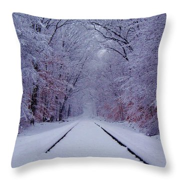Winter Rails Throw Pillow