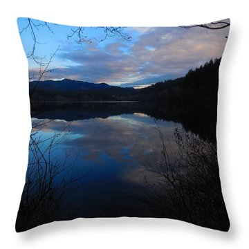 Winter Reflection At Lake Padden Throw Pillow by Karen Molenaar Terrell