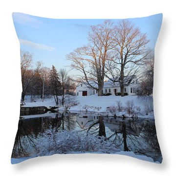 winter reflection in Maine Throw Pillow by Jewels Blake Hamrick