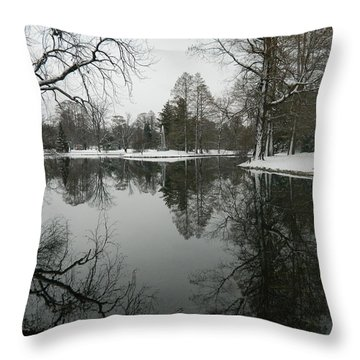 Throw Pillow featuring the photograph Winter Reflections 2 by Kathy Barney