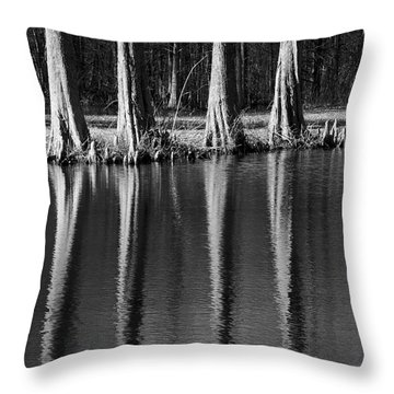 Winter Reflections - Cypress Tree Art Print Throw Pillow by Jane Eleanor Nicholas