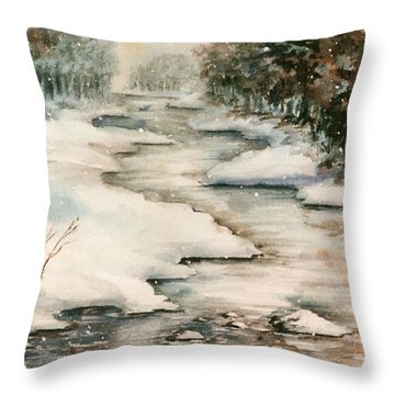 Winter Reflections Throw Pillow by Kristine Plum