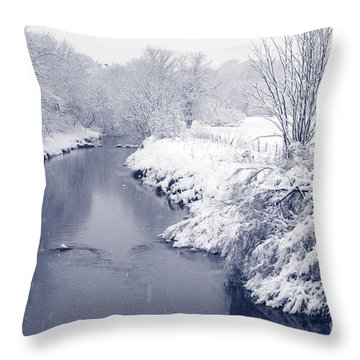 Throw Pillow featuring the photograph Winter River by Liz Leyden