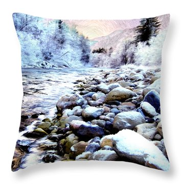 Winter River Throw Pillow by Sabine Jacobs