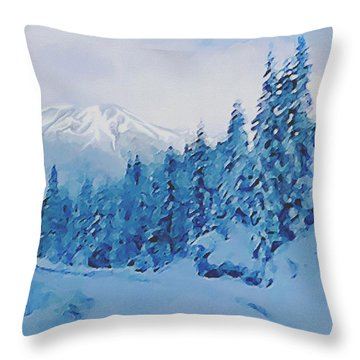 Throw Pillow featuring the painting Winter Road by Sophia Schmierer