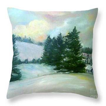 Winter Sang In The Chimneys Throw Pillow