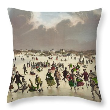 Winter Scene Circa 1859 Throw Pillow by Aged Pixel