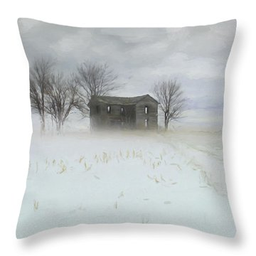 Winter Scene Of A Farmhouse/digital Painting Throw Pillow