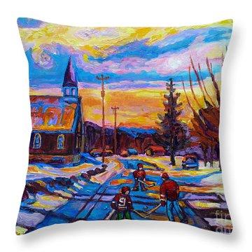 Winter Scene Painting-hockey Game In The Village-rural Hockey Scene Throw Pillow by Carole Spandau