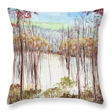 Winter Scene Tracks Throw Pillow
