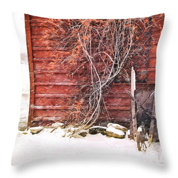 Throw Pillow featuring the photograph Winter Scene With Barn And Wheelbarrow/ Digital Painting  by Sandra Cunningham