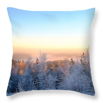 Winter Scenery Of The Lake Hiidenvesi Throw Pillow