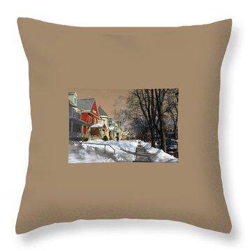 Throw Pillow featuring the pyrography Winter Scenery  by Viola El