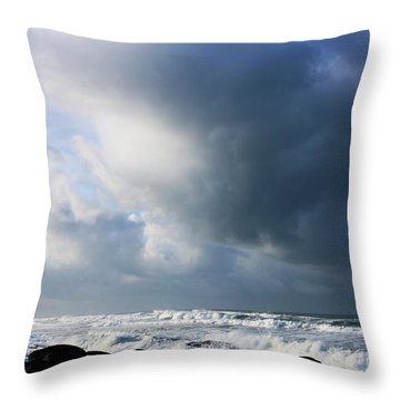 Winter Sea Sky Drama Throw Pillow