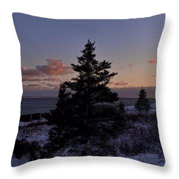Winter Sentinel Lighthouse Throw Pillow