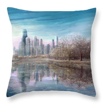 Winter Serenity Frost Throw Pillow
