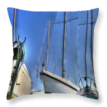 Winter Shipyard Throw Pillow