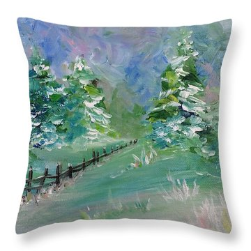 Throw Pillow featuring the painting Winter Silence by Lauren Heller