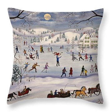 Winter Skating Throw Pillow by Linda Mears
