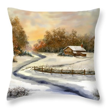 Winter Skies Throw Pillow by Sena Wilson