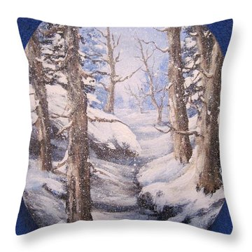 Throw Pillow featuring the painting Winter Snow by Megan Walsh