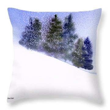 Throw Pillow featuring the painting Winter Snowfall by Anne Duke