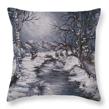Throw Pillow featuring the painting Winter Solstice by Megan Walsh