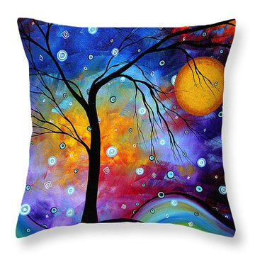 Winter Sparkle Original Madart Painting Throw Pillow