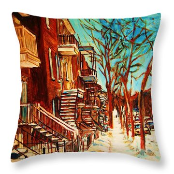 Throw Pillow featuring the painting Winter Staircase by Carole Spandau