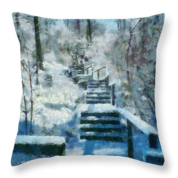Winter Stairway Throw Pillow by Michelle Calkins