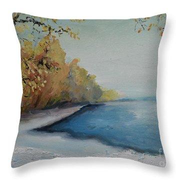 Winter Starts At Kymi River Throw Pillow